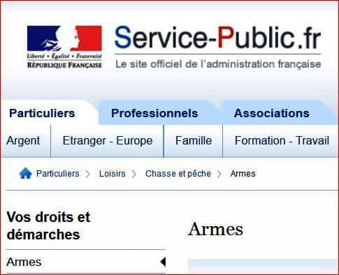 armes service public.fr