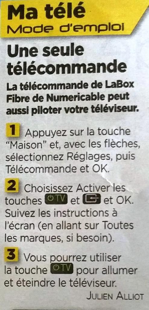 utiliser sa télécommande numericable pour allumer la télé