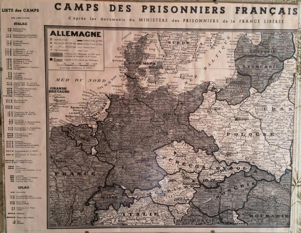 Carte des camps des prisonniers français en allemagne 39-45 liste des stalags, oflag d'aprés les documents du ministére des prionniers de la France libérée