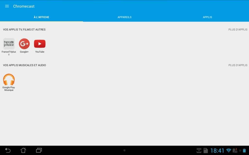chromecast 2 sur tablette