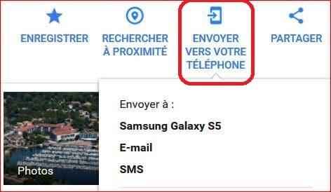 coordonnées gps transfert vers téléphone mobile