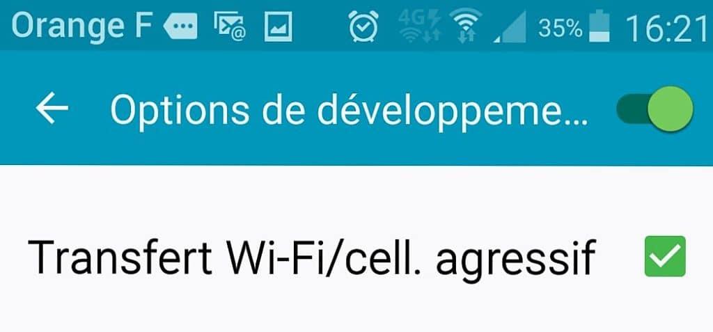 samsung transfert agressif wifi cellulaire 4G